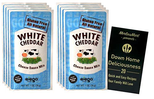 Riega Organic White Cheddar Cheese Sauce Mix Powder Packets | Gluten Free | Pack of 8 (1 Ounce) | Plus Recipe Booklet Bundle