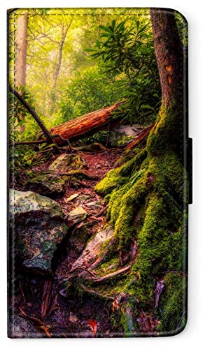 CoverCase Funda con tapa para camping, fuego, compatible con Samsung Galaxy A5 2018, raíz musgo, funda plegable, funda para teléfono móvil, funda redonda, protección tipo cartera M10