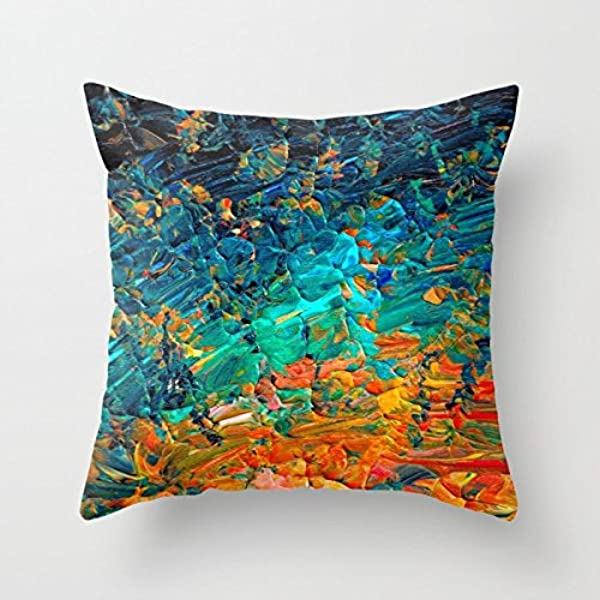 SPXUBZ Eternal Tide Rainbow Ombre Ocean Waves Abstract Acrylic Painting Summer Colorful Beach Blue Orange PillowCover Decorative Home Decor Square Indoor Outdoor Pillowcase Size 16x16 Inch Two Sides