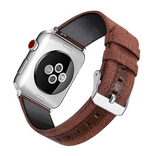 Fhony Correa de Lona Compatible con Apple Watch 38mm 40mm 42mm 44mm Correa de Tela Tejida Nylon de Repuesto para iWatch Series 6/5/4/3/2/1 Banda de Reloj Balística,Marrón,42/44mm