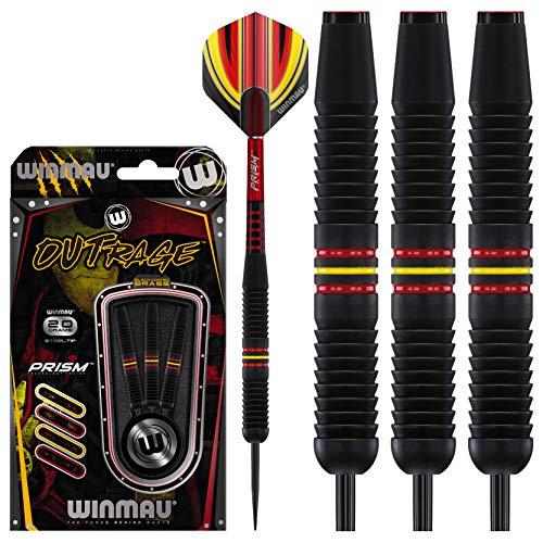 WINMAU Outrage - Dardos (Punta de Acero, latón Revestido, Anillo Central), Color Negro (20 Unidades)