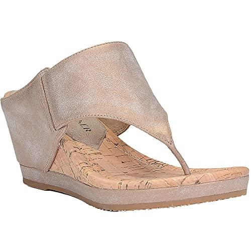 Donald J Pliner Women's MALONE-T13 Wedge Sandal, Bronze, 7.5