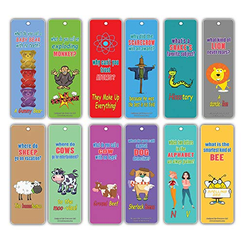 Kids Bookmarks Set (12 Pack)- Animal Silly Jokes Series 2 - Funny Hilarious Lion Sheep Laugh and Learn - Excellent Party Favors Teacher Classroom Reading Rewards and Incentive Gifts for Young Readers