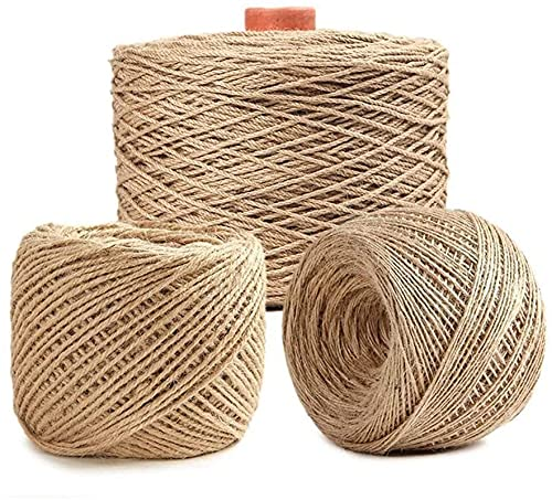 Fine-Knitted Natural Jute Rope, 50m Solid Hemp Rope Multifunctional Braid Jute Twine, for Tie/Pull/Swing/Climb and Knot