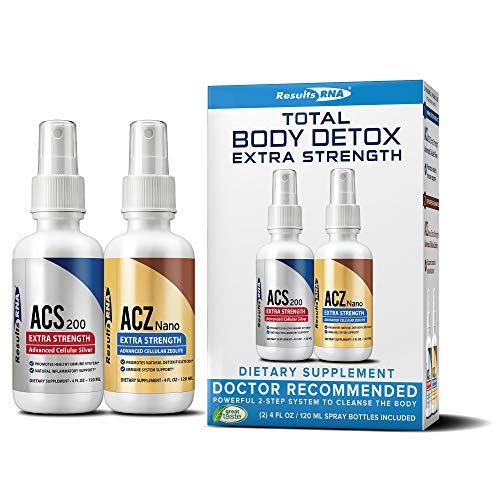 Total Body Detox  Results RNA ACZ Nano Advanced Cellular Zeolite Extra Strength  & ACS 200 Extra Strength Colloidal Silver,4 oz(pack of 2)