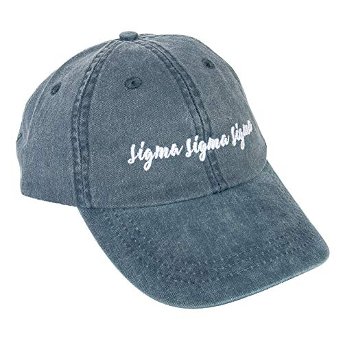 Sigma Sigma Sigma (N) Sorority Baseball Hat Cap Cursive Name Font tri-Sigma - blue - M
