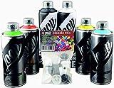 Set di bombolette spray Klamottenstore Loop Graffiti, colori di base inclusi nero e bianco, 6 x 400 ml + testine di ricambio