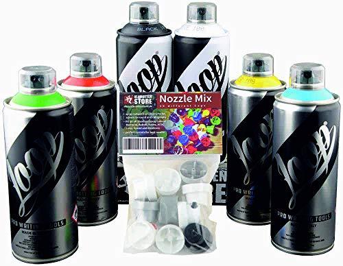 Sprühdosen Set Klamottenstore Loop Graffiti Grundfarben inkl. schwarz & weiß 6x400ml + Ersatzsprühköpfe