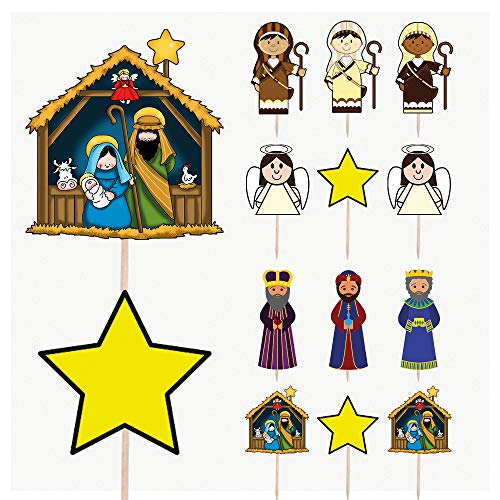 Nativity Scene Christmas Party Food Cake Cupcakes Picks Sticks Decorations Toppers Stand Up Food Flag (Pack of 14)