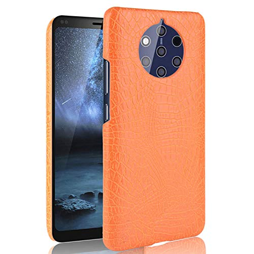 HualuBro Handyhülle für Nokia 9 PureView Hülle, Premium PU Leder Hardcase [Ultra Dünn] Lederhülle Tasche Schutzhülle Hülle Cover für Nokia 9 PureView (Orange)