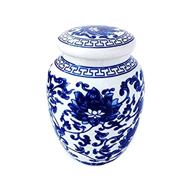 Decorative Blue and White Lotus Pattern Porcelain Tea Storage Container or Display Unit (Medium Size)