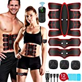FYLINA 2019 NEWEST Muscle Stimulator EMS Abs Trainer, LCD Display Remote Control Abdominal Muscle Toning Belts with Home Workout Fitness Device for Men & Women