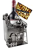 BRUBAKER Wein Flaschenhalter Haus mit Dachdecker Metall Skulptur mit Geschenkkarte