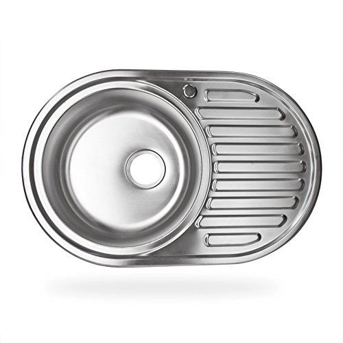 Stabilo-Sanitaer Einbauspüle aus hochwertigem Edelstahl, rundes Spülbecken mit Ablagefläche rechts, klassische Küchenspüle in schönen und zeitlos modernen Design