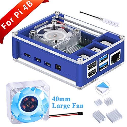 GeeekPi Raspberry Pi 4 Case, Raspberry Pi 4 Case with Fan 40X40X10mm (Blue Backlight) and 4pcs Raspberry Pi 4 Heatsinks for Raspberry Pi 4 Model B (Blue&Clear)
