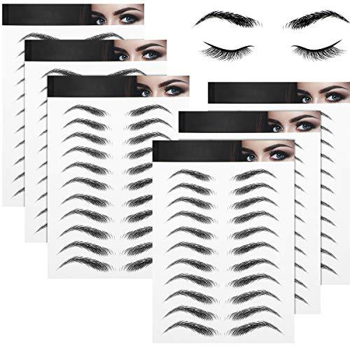 6 Blätter 4D Haarähnliche Wasserdichte Augenbrauen Tätowierungen Aufkleber Augenbrauen Transfer Aufkleber Pflege Formung Aufkleber im Bogenstil für Frauen, 66 Paare (Hohe Bogen Augenbraue)