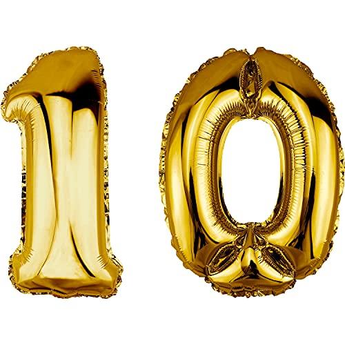 DekoRex Palloncino stagnola Compleanno Decorazione per l'aria 40cm Oro Numero: 10