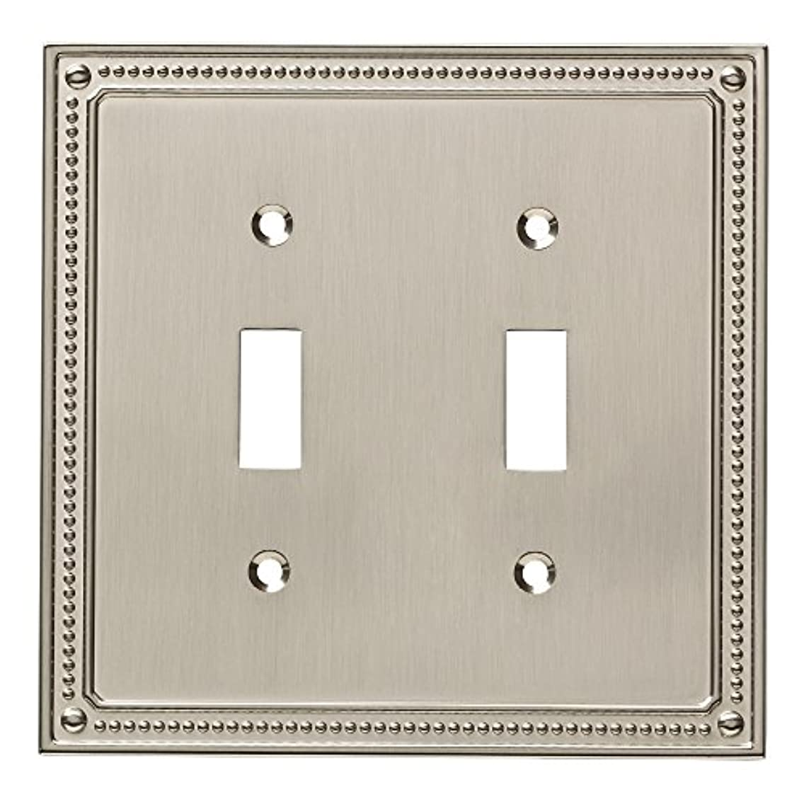 Franklin Brass W35061-SN-C Classic Beaded Double Switch Wall Plate/Switch Plate/Cover, Satin Nickel