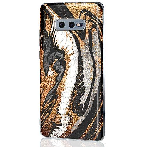 QULT Carcasa para Móvil Compatible con Samsung Galaxy S21/s21 5G Case mármol Thin Soft Silikon SchutzCasecon Borde Transparente Bumper Marble Black