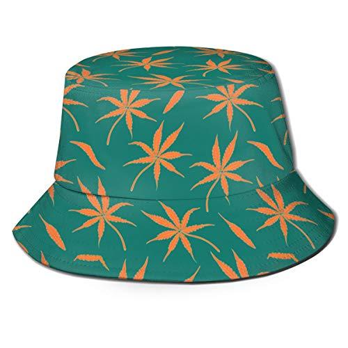 Sofá almohada Unisex Lindo Único Estampado Viaje Cubo Sombrero Cactus Plantas Verano Pescador Cap Brillante con hojas de cannabis. Talla única