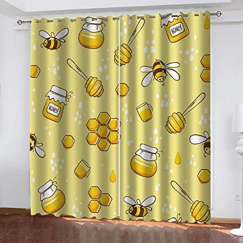 SFALHX Gordijnen, ondoorzichtig, met ogen, verduisteringsgordijn, thermogordijn, lichtdicht, voor woonkamer, slaapkamer, keuken, 2 x B117 x H138 cm/gele honing