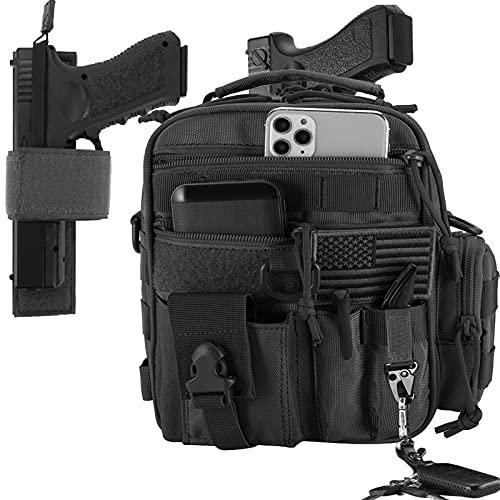 LarKoo Tactical Handgun Shoulder Strap Messenger Bag Gun Ammo Holster Concealed Carry Pistol Pouch Padded Military Fanny Pack Range Bag for Shooting Hunting (Black)