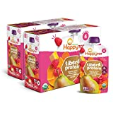 Happy Tot Organics Fiber & Protein Stage 4, Pears, Raspberries, Butternut Squash & Carrots, 4 Ounce Pouch (Pack of 16) packaging may vary