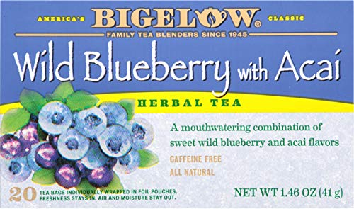 Bigelow Tea Wild Blueberry with Acai Herb Tea, 20-Count (Pack of 6), 120 Tea Bags Total.