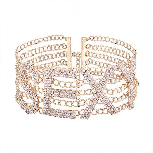 Fnito Collar Collar de Gargantilla de Diamantes de imitación Mujer declaración de Amor Collar de Gargantilla de Cristal Collar Collier Joyería de Fiesta de Mujer