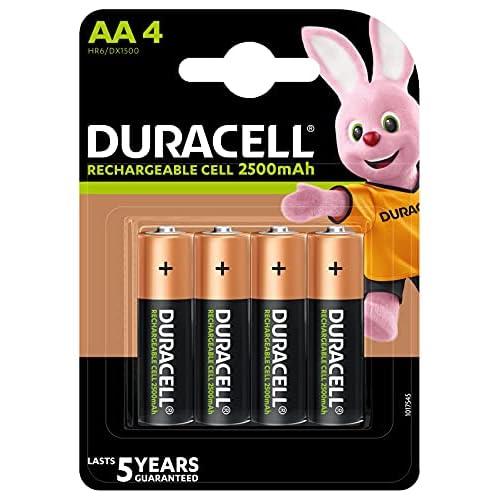 Duracell - Rechargeable AA 2500mAh Prericaricate, Batterie Stilo Ricaricabili 2500 mAh, confezione da 4
