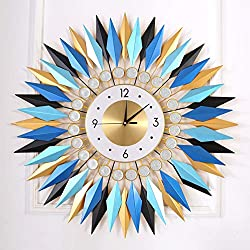 """KINBEDY Large Sunburst Big Fancy Decorative Clock with Silent Movement 9.5"""" Dial Luxury Crystal Bohemian Style Metal Modern Wall Clock for Living Room, Bedroom, Office Space. (Blue Mandala)"""