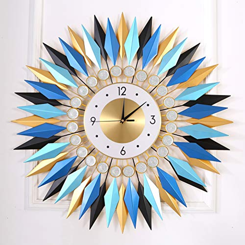 "KINBEDY Large Sunburst Big Fancy Decorative Clock with Silent Movement 9.5"" Dial Luxury Crystal Bohemian Style Metal Modern Wall Clock for Living Room, Bedroom, Office Space. (Blue Mandala)"