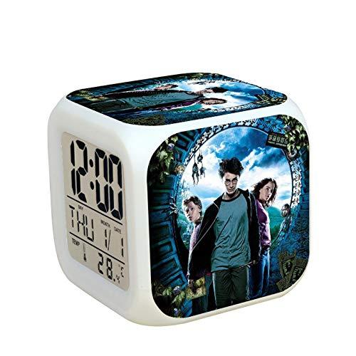 LINYIN Quadratische Uhr Led Bunte Nachtlicht leuchtende Uhr Kinder Schlummer nsnooze Student Geschenk Wecker Persönlichkeit kreative Nachtlicht TBNZ Harry Potter 08.