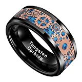 BestTungsten 8mm Silver/Black Tungsten Rings for Men Women Wedding Bands Steampunk Gear Wheel Blue Purple Carbon Fiber Inlay Beveled Edges Comfort Fit