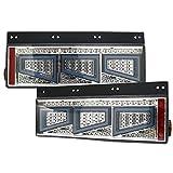シーケンシャル ファイバー LED テールランプ 左右セット スモーク 3連 角型 デコトラ 12V/24V 流れる テールライト トラック用品 部品 外装パーツ