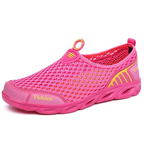 Aerlan Buceo Zapatos de Agua,Secado Rápido Zapatos,Deportes de Malla Casual Transpirable Pareja río Aguas Arriba Zapatos-Mei Hong_37