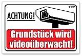 Schild Achtung | Videoüberwachung Schild | Dibond 3mm | 300x200mm | Bereich Wird videoüberwacht | Warnschilder | Hinweisschilder (Muster 2)