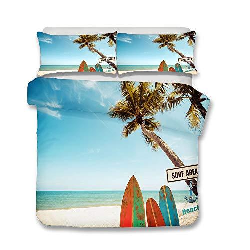 Anwind Juego de Funda de Edredón Playa Tabla de Surf Patrón Funda Nórdica Microfibra Juego de Cama Cremallera Funda de Almohada (Style 8#, Cama 90-150x220cm)