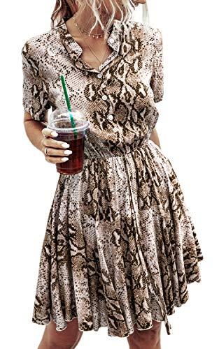 Spec4Y Damen Kleider Kurz V-Ausschnitt Knielang Sommerkleid Swing Plissee Minikleid Blumendruck Strandkleid mit Knopf 183 Khaki X-Large