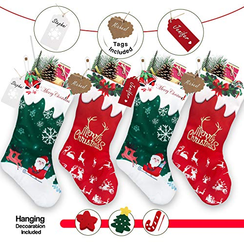 """RFAQK Personalized Christmas Stockings 4 Pack- Name Tags & Hanging Christmas Decorations, 18"""" Large Xmas Santa Stockings- Fireplace Hangings for Family Holiday Season, Farmhouse and Home Decor"""