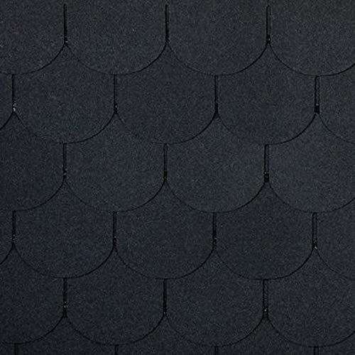Bitumen Dachschindeln, Biberschwanz schwarz, 21 Stück (für 3m² Dachfläche) Bitumenschindeln Dachpappe