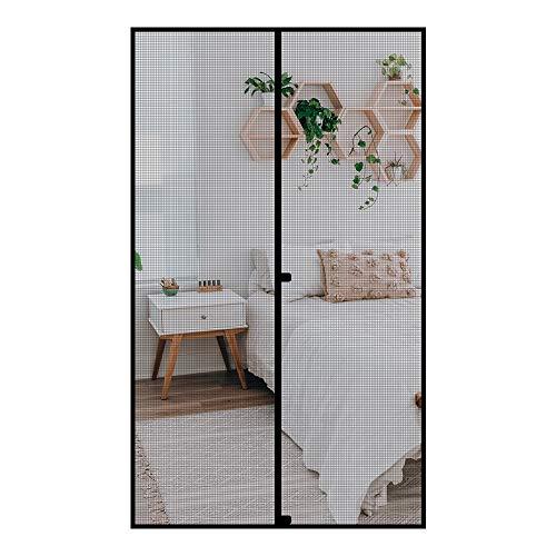 Fowong - Mosquitera magnética para puerta, 150 x 255 cm, mosquitera magnética para puerta de balcón, sótano, terraza, mosquitera, cierre magnético, montaje sin agujeros, color negro