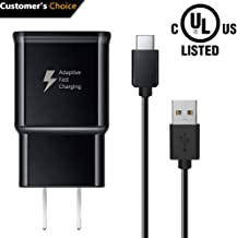 Adaptive Fast Charging Wall Charger and USB Type C Data Cable Kit Set Compatible with Samsung Galaxy S10 / S10+ / S10e / S9 / S9+ / S8 / S8+ / Note 8 / Note 9 & Other Type C Phone and Tablet (Black)