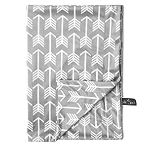 Kids N' Such Minky Baby Blanket 30″ x 40″ – Grey Arrow – Soft Swaddle Blanket for Newborns and Toddlers – Best for Boys or Girls Crib Bedding, Nursery, and Security – Plush Double Layer Fleece Fabric