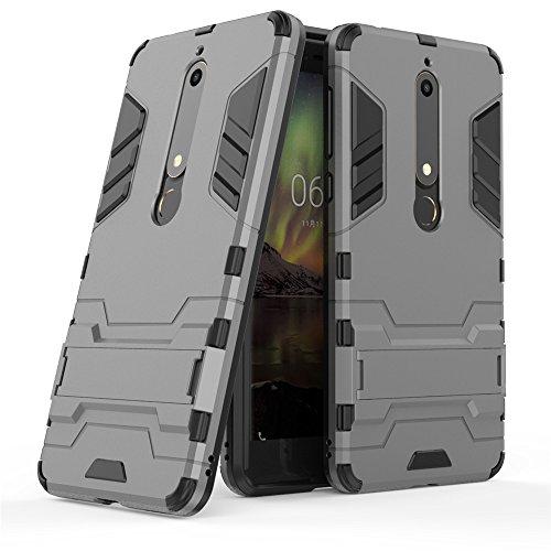 Nokia 6 Custodia, Nokia 6 Cover, MHHQ 2 in 1 nuovo Armour stile resistente Hybrid Dual Layer Armatura Defender PC + TPU Custodie con supporto [Custodia antiurto] per Nokia 6 -Gray