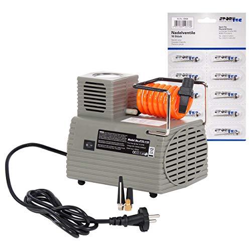 Sport-Tec Ballkompressor FTC-110, 220-240 V, 4 Bar, inkl. Nadelventil-Set, 10 Stück