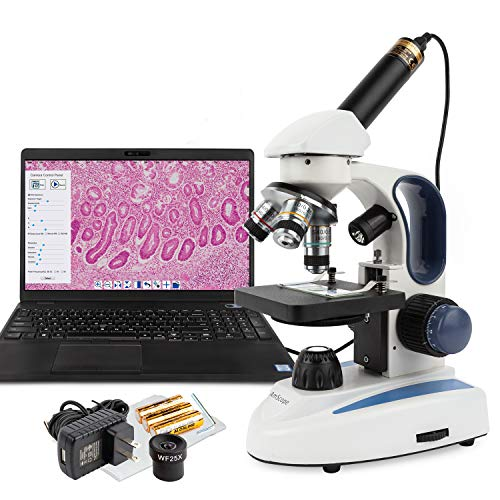 AmScope M158C-2L-E Digital Cordless Compound Monocular Microscope, WF10x and WF25x Eyepieces, 40x-1000x Magnification, Upper and Lower LED Illumination with Rheostat, Brightfield, Single-Lens Condenser, Coaxial Coarse and Fine Focus, Plain Stage, 110V or Battery-Powered, Includes 0.3MP Camera and Software