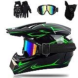 Casco de Moto-Cross Verde Negro Brillante, con Gafas, máscara, Guantes, Casco de Descenso de Enduro de Motocicleta para Adultos, Casco de Motocicleta ATV MTB Quad (A, 60-61CM)