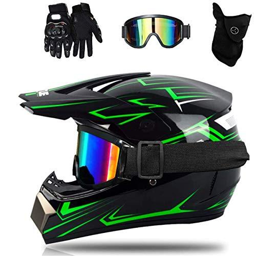 Casco de Moto-Cross Verde Negro Brillante, con Gafas, máscara, Guantes, Casco de...