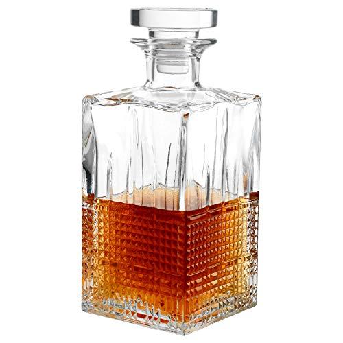 Novecento Whiskykaraf 780 ml I karaf I karaf I met glazen sluiting I Vierkant I Hoogwaardig I Vloerijs